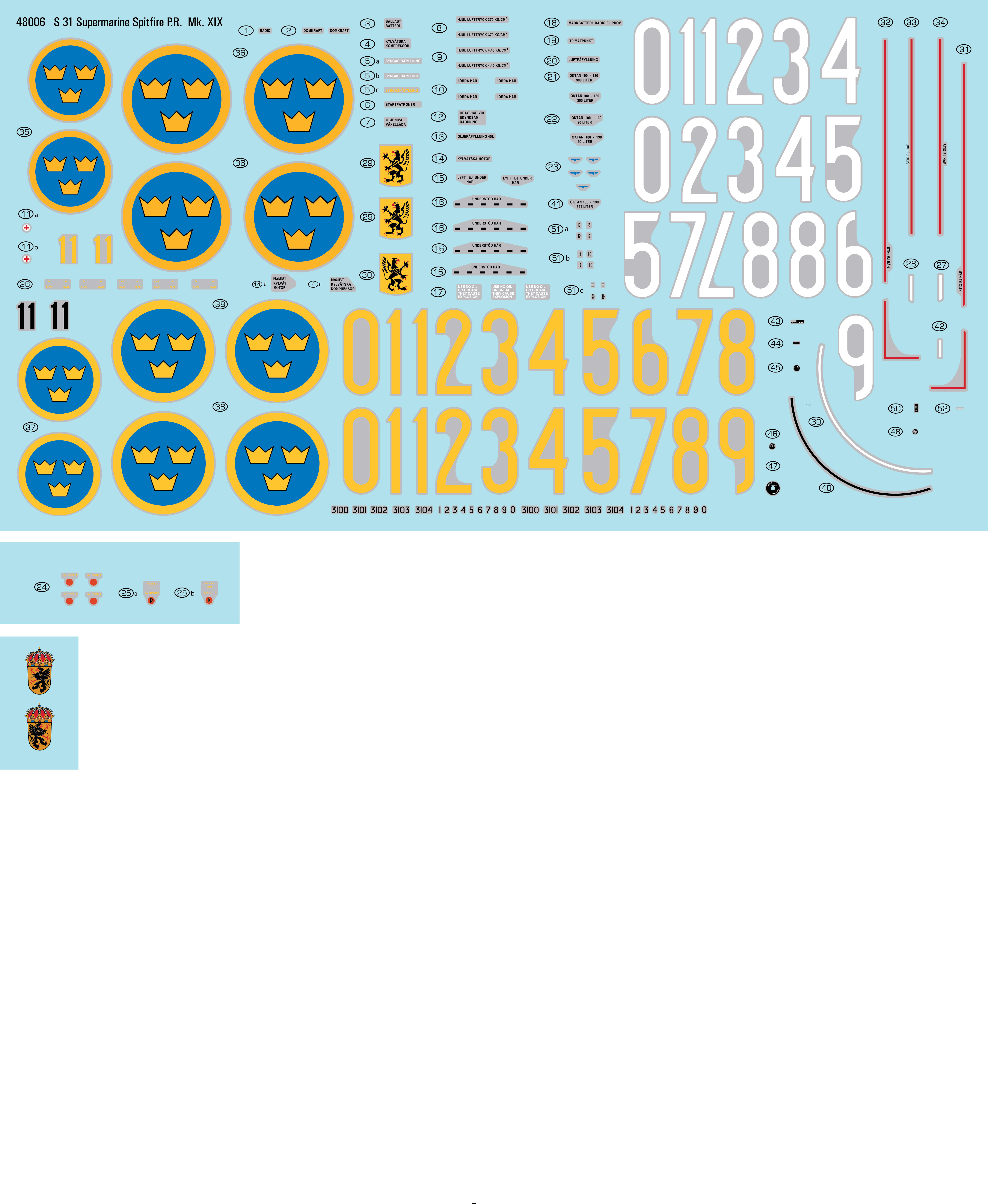 4807 S 31 Spitfire Mk. XIX Swedish Decals 1/48