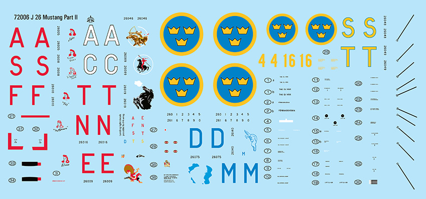 72007 J 26 P-51D Mustang Swedish Decals 1/72