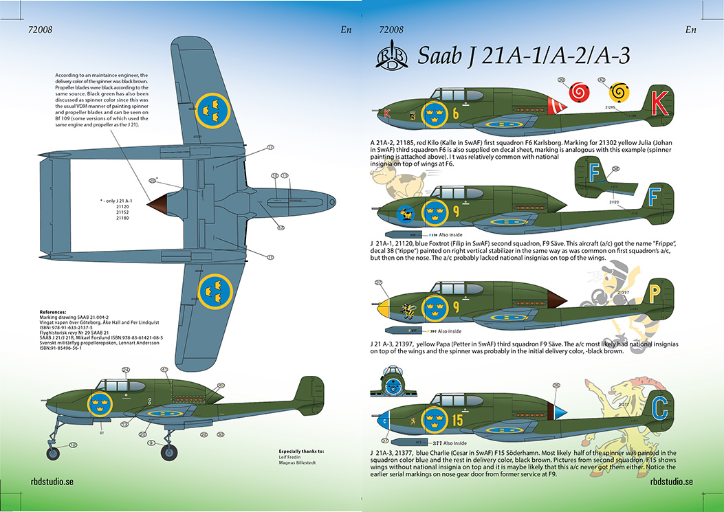 Saab J 21 Dekaler Swedish Decals 1/72
